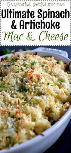 Creamy and deliciously gooey macaroni and cheese with spinach and artichokes.
