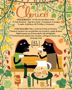 Cositas Ricas Ilustradas por Pati Aguilera: Clericó Hip Hip, Chilean Recipes, Chilean Food, Cocktail Illustration, Bar Mix, Ideas Para Fiestas, Infused Water, Food Illustrations, Cocktail Drinks