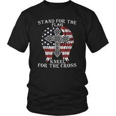 Mens Stand For The Flag, Kneel For The Cross T Shirt – teefim
