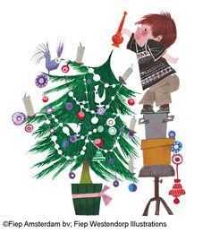 Christmas illustration:  Vintage little boy standing on hat boxes to decorate top of Christmas tree