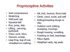 Proprioceptive activities for sensory seekers