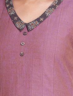 Pink Side Button Detail Pleated Mangalgiri Dress by Samprada Churidhar Neck Designs, Kurtha Designs, Salwar Neck Designs, Kurta Neck Design, Neck Designs For Suits, Sleeves Designs For Dresses, Neckline Designs, Kurta Designs Women, Dress Neck Designs