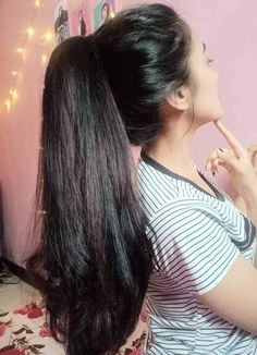 Long Hair Ponytail Styles, Long Ponytail Hairstyles, Long Ponytails, Indian Hairstyles, Cool Hairstyles, Long Hair Styles, Thick Hair, Wavy Hair, Long Indian Hair