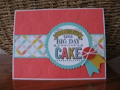 This is a CASE of a card that I saw on Pinterest.  Love this stamp set and color combo. Description