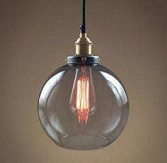 Smoke Glass Big Pendant Hanging Lamp Vintage Copper Socket Globe Ceiling Pendant Lamp