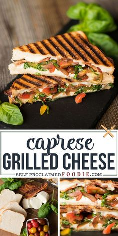 I can't think of a better lunch than this Caprese Grilled Cheese made with crisp bacon, soft mozzarella, tomatoes, basil, and super soft bread! #grilledcheese #caprese #tomato #basil #bacon #mozzarella #easy #recipe