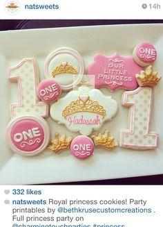 Girl pink princess sugar cookies