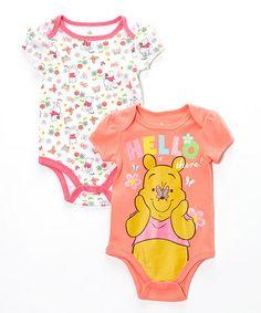 Another great find on #zulily! Orange Winnie the Pooh Bodysuit Set - Infant #zulilyfinds