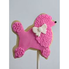 The Poodle - Vanilla shortbread on a stick decorated with our marshmallow fondant. Frosting Flowers, Fondant Flower Cake, Fondant Rose, Fondant Baby, Dog Cookies, Cookies For Kids, Cupcake Cookies, Sugar Cookies, Chocolate Fondant