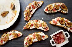 Fig, prosciutto, lavender-thyme ricotta, and honey