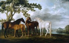 """Mares and Foals in a River Landscape"", by 18th century artist George Stubbs."