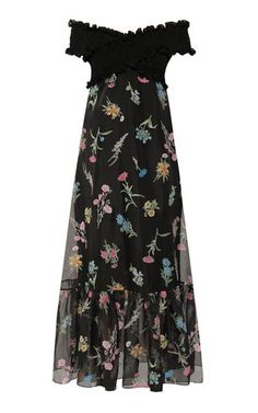 Anna October Ani Floral-Print Organza Off-The-Shoulder Maxi Dress Dress Outfits, Girly Outfits, Off The Shoulder, Floral Prints, Summer Dresses, Summer Outfit, Evening Dresses, Style Inspiration, Style Ideas