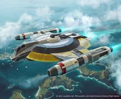 Star Wars, X-Wing game illustrations that I've done for the guys from Fantasy Flight Games. The Mandalorian Fang Fighter and the Shadow Caster.