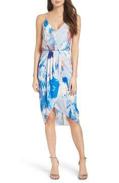 NEW CHELSEA28 FESTIVAL BLUE Floral TEXTURED Halter MOCK NECK Midi High//Low DRESS