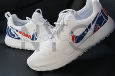 04aed4dbda3e Chicago Cubs 16  Nike Roshe One Run White Custom Men by NYCustoms Chicago  Cubs Shoes