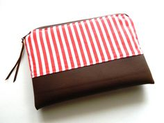 Maritimes Täschchen von Nordwind auf DaWanda.com  . maritim . nautical . streifen . stripes . weiß . rot . white . red . bag . zipper pouch .