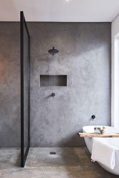 Cool 33 Stunning Black Bathroom Shower Design Ideas That You Need To Copy New Bathroom Designs, Modern Bathroom Design, Bathroom Interior Design, Interior Decorating, Modern Design, Bath Design, Rustic Design, Kitchen Interior, Decorating Tips