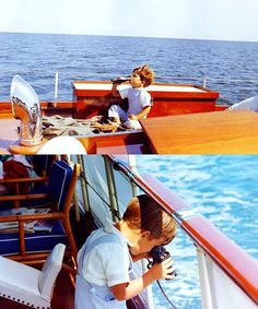 """John F. Kennedy jr. aboard his father's yacht, the """"Honey Fitz"""", Hyannis Port, august 1963"""