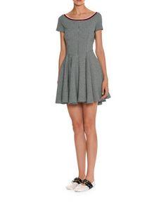 Check-Print+Fit-and-Flare+Dress,+Black/Red+by+Miu+Miu+at+Bergdorf+Goodman.