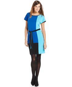 Calvin Klein Dress, Short-Sleeve Belted Colorblocked - Macy's, $44.99