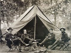 Vintage-Civil War-Soldiers-February Station-Virginia-Secret Service Officers-Army Of The Potomac Headquarters-Col. George H. Sharpe, John G. America Civil War, Civil War Photos, Camping Life, American Revolution, Historical Photos, Black History, Civilization, Spy, Old Photos