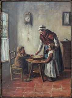 Albert Jan Neuhuys (DUTCH, 1844-1914) Dutch Interior Scene: Lot 132-6117 #dutch #neuhuys #nostalgic