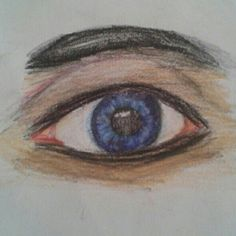 Realistic eye water colour pencil sketch