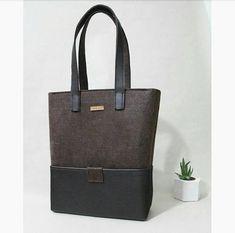 Handmade Brown, Felt Tote Bags, Dark Brown Leather Handle, Huge Leather Bottom Pockets, Felt Shopper, Shoulder Bag, Zipper Bag