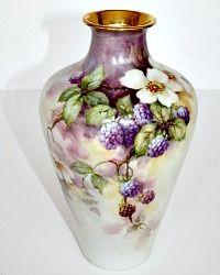 Antique French Limoges Hand Painted Signed Porcelain Vase