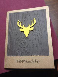 Embossed Handmade Birthday buck deer masculine greeting card Hand stamped trophy buck