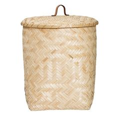 Bloomingville Natural Bamboo Basket With Lid: Bloomingville Natural Bamboo Basket With Lid. This practical bamboo basket will provide a place for your laundry, or even all those magazines and newspapers. Designed by Danish home brand Bloomingville, Its woven texture can compliment lots of interior styles.
