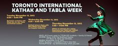 Join us for Toronto International Kathak and Tabla Week  November 13 - 15, 2012