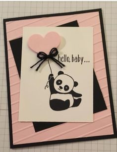 New Baby Cards Handmade Stampin Up Stamps Ideas Baby Girl Cards, New Baby Cards, Tarjetas Diy, Panda Party, Karten Diy, Bday Cards, Handmade Birthday Cards, Baby Shower Cards Handmade, Handmade Baby