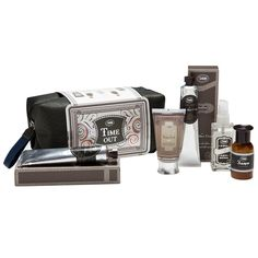 """Find the inner gentleman in you, or pamper your favorite gentleman with Sabon's """"Time Out"""" kit, with a total of 5 products. Shower Scrub (70 G) Hand Cream (50 ML) After Shave Cream (50 ML) Shampoo (100 ML) Fabric Mist (50 ML)"""