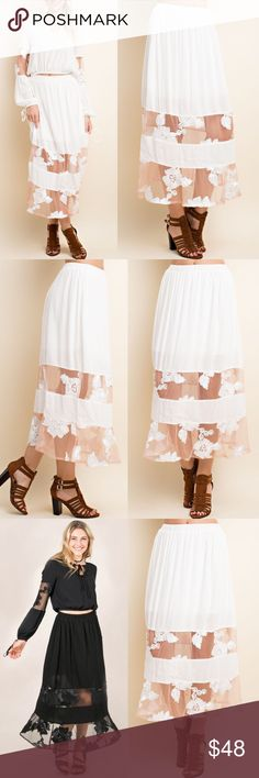 Floral Lace Maxi Skirt - WHITE How feminine & darling is this gorgeous elastic waist Maxi? Sure you get you noticed! Available in black & white. 🚨PRICE FIRM🚨 Bellanblue Skirts Maxi