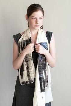 Bold Pattern Scarf, Hand Screen Printed Silk Chiffon scarf - Lee Coren