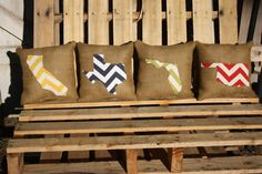 Chevron State Burlap Pillows (custom)