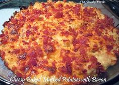 Cheesy Baked Mashed Potatoes with bacon by The Shady Porch