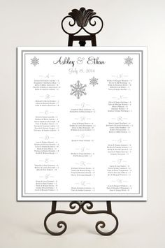 Snowflake Seating Chart for Table Assignments for your Wedding Reception - Printable PDF File