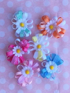 Lovely Daisy Hair bows In Pastels