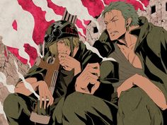 """""""Ch. I'm sick of this war..."""" """"For once, I agree with you moss head."""" Sanji and Zoro One Piece"""