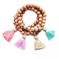 Rose Wood Tassel Bracelet by Gold and Gray. Seen in Southern Living December 2013 Holiday Gift Guide.