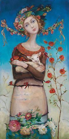 #Cassandra #Barney #artist #Comfort by Hidden Ridge #Gallery, #art #woman #flowers #painting #print #illustration
