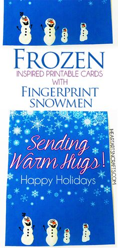 Frozen Inspired Printable Holiday Cards - Just add a fingerprint Olaf or make the whole family using fingerprint snowmen!