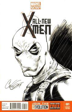 Deadpool sketch cover (All-New X-Men #1) Comic Art