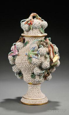 Meissen-type Schneeballen Porcelain Urn and Lid | Sale Number 2566B, Lot Number 887 | Skinner Auctioneers