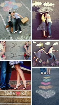 Engagement pictures • cute chalk use!