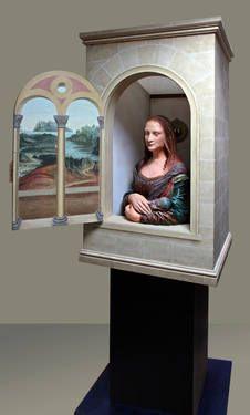 "Saatchi Art Artist Eva Bayley; Installation, ""Tardis Da Vinci (concept & bust by Eva Bayley, cabinet,plinth and trompe l'oeil by Martin Jarvis)"" #art"