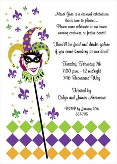 Save with gigantic discounts and saving on Mardi Gras jester Fat Tuesday invitation cards and free invitations wordings for 2017 Mardi Gra celebrations. Bubble Guppies Invitations, Free Party Invitations, Diaper Invitations, Holiday Party Invitations, Printable Invitation Templates, Invitation Card Design, Invitation Wording, Invitation Ideas, Mardi Gras Party