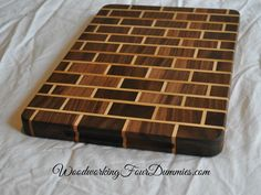 Learn Woodworking Picture of Brick Cutting board end with logo.jpg - My favorite projects are the ones that I think about, set aside for a while, and come back to them. This was my first project that wasn't just a plain. End Grain Cutting Board, Diy Cutting Board, Wood Cutting Boards, Wood Boards, Learn Woodworking, Custom Woodworking, Woodworking Projects Plans, Woodworking Chisels, Youtube Woodworking